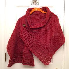 Ravelry: Buttoned Wrap pattern by Paula Marshall Crochet Poncho Patterns, Crochet Shawl, Knit Crochet, Mandala Yarn, Crochet Mandala, Easy Knitting, Loom Knitting, Paula Marshall, Circular Knitting Machine