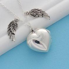 Guardian Wing Locket, Sterling Silver heart locket, Angel Wing locket, Sweet 16 locket Necklace, Choose size Locket, by Mony-Art-17s, $44.80