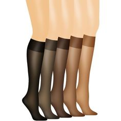 Hanes Jet Silk Reflections No Slip Band Knee High Set Of 2 - Women's ($9) ❤ liked on Polyvore featuring intimates, hosiery, socks, jet, knee length socks, silk hosiery, hanes hosiery, sheer socks and see through socks