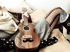 Must decorate my uke like this! Minus the mustache
