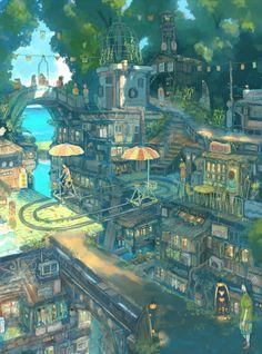 Pin by totallycoolguy on cool art in 2019 Fantasy City, Fantasy Kunst, Fantasy Places, Fantasy World, Environment Concept Art, Environment Design, Fantasy Landscape, Landscape Art, Anime Kunst