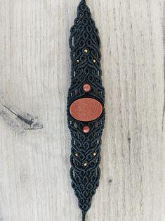 Macrame Sunstone Bracelet   Etsy Unique Bracelets, Macrame Bracelets, Everyday Outfits, Round Beads, Bracelet Making, Crochet Necklace, Wax, Stone, Gold