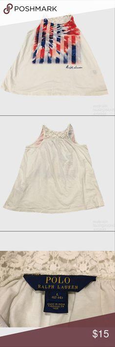 Ralph Lauren Crochet Back Trapeze Tank Worn once. Excellent like new condition. Girls size large (12-14) Ralph Lauren Shirts & Tops Tank Tops