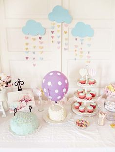 Hot air balloon birthday party table