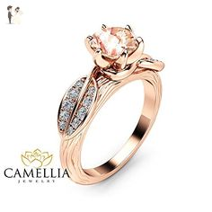 Nature Inspired Morganite Engagement Ring 14K Rose Gold Branch and Leaf Ring - Wedding and engagement rings (*Amazon Partner-Link)