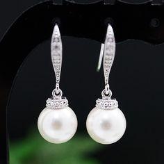 Swarovski Pearl drops Bridal Earrings - Earrings Nation