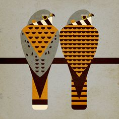 Scott Partridge- Kestrels in the style of Charley Harper