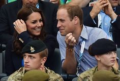 Will, Kate & Harry enjoy a second day of sporting action at the 2014 Commonwealth Games in Glasgow, Scotland. Kate was wearing a blue Stella McCartney dress, a navy blazer by Smythe & Stuart Weitzman Corkswoon wedges. – 7/29/2014