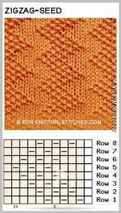 Just Knit and Purl - Zigzag Seed stitch. Just Knit and Purl Zigzag Seed stitch. Just Knit and Purl Knitting Stiches, Knitting Charts, Knitting Yarn, Crochet Stitches, Knit Crochet, Free Knitting, Stitch Patterns, Knitting Patterns, Crochet Patterns