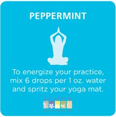 Spray your #yoga mat with #peppermint essential oil #aromatherapy