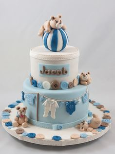 Torte Cake Babyshower Baptism Taufe (Cool Cakes Without Fondant) Torta Baby Shower, Baby Shower Cupcake Cake, Baby Shower Cakes For Boys, Baby Boy Cakes, Fondant Baby, Fondant Cakes, Cupcake Cakes, Gateau Baby Shower Garcon, Teddy Bear Cakes