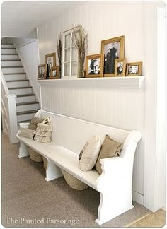 Church pew would work in basement.