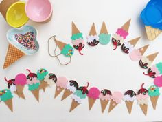 Ice Cream Garland Ice Cream Banner Ice Cream by TheLilFeltShoppe