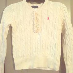 Girls (kids)Cream Ralph Lauren Sweater Girls sweater with ruffles. Ralph Lauren Shirts & Tops Sweaters