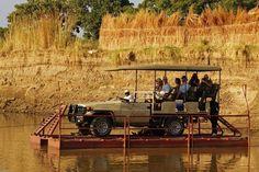 Crossing Luangwa River on the Kafunta pontoon