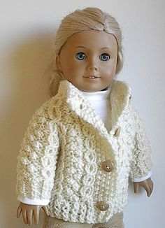 American Girl Doll Clothes - Handknit Irish Fisherman Cardigan Sweater Jacket for 18 Inch Doll - Ready to Go