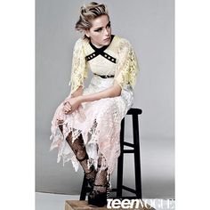 @kiernanshipka wears a F/W'15 dress, harness and heels in the October '15 issue of @teenvogue