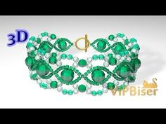 How to make a Beaded Emerald Bracelet. The pattern and required materials you can find on official website: http://www.vipbiser.com/index.php/en/3d-tutorial/...