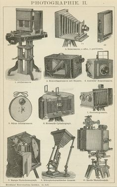 Matted Antique Camera Print. It comes from a German lexicon, C. 1894.