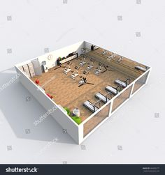 #3d #interior #rendering #perspective #view of #furnished #gym