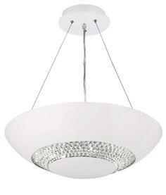 3448-8WH HALO - závesné LED s krištáľom - biele - 480mm