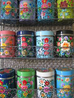 Floral tin cans