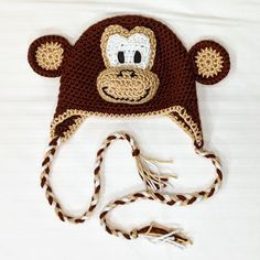 Love this fun, crochet monkey hat. Perfect for babies, kids and adults alike. Crochet Bunny Pattern, Cute Crochet, Crochet Hooks, Crochet Monkey Hat, Crochet Animal Hats, Knitting Patterns, Crochet Patterns, Knitting Toys, Crochet Ideas