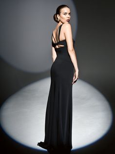 371a2bdc Black velvet cocktail dress with cutout back Burda style 11/2014