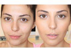 Antes y después de aplicar la bse de maquillaje: el tono apenas cambia pero la piel aparece perfecta.