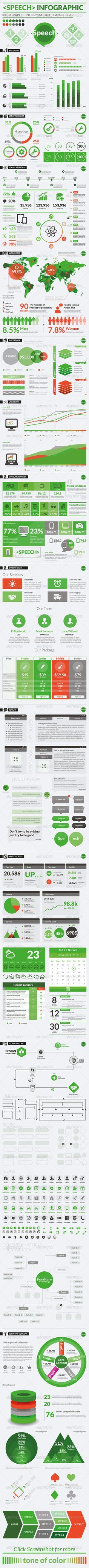 <Speech> Infographic This is a set of infographic elements Templates & Vector Kits To Design Your Own Infographic The color scheme used is of a Modern and Clean type but can be changed to anyth...
