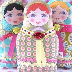 Matryoshka Russian Cloth Doll with red hair.