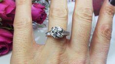 Beautiful French cut diamond ring by David Klass Jewelry.