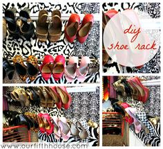 diy shoe rack. Love the wallpapered closet. Use bedroom efficetivly for extra space for storage.