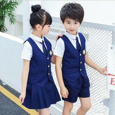 11afb8bd3 Niños japoneses coreanos uniformes escolares niñas niños danza csotumes Tops  + falda + Pantalones cortos + corbata niños estudiantes ropa de verano  trajes