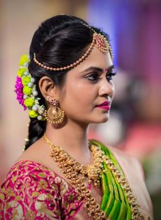South Indian bride. Gold Indian bridal jewelry.Temple jewelry. Jhumkis. Green silk kanchipuram sari.Braid with fresh jasmine flowers. Tamil bride. Telugu bride. Kannada bride. Hindu bride. Malayalee bride.Kerala bride.South Indian wedding. Pinterest: @deepa8