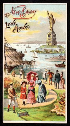 Easy lawn mower Statute of Liberty trade card.