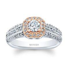 Global Matthew Ryan Designs 14k Gold 3/4ct TDW Diamond Halo Designer Engagement Ring (G-H, SI1-SI2) (size .00), Women's