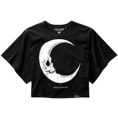 Killstar Dark Side Of The Moon Batwing Crop Top (Black) ($42) ❤ liked on Polyvore featuring tops, black batwing top, gothic tops, crop top, batwing top and goth crop top