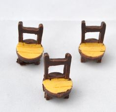 2 PC Brown Tan Wooden Design Resin Chairs by AZRibbonsAndSupplies