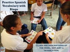 Play Bingo in your Spanish Class, but call out descriptions of the words, not just a translation. Get this ready for use bingo game with food vocabulary.