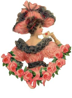 Victorian Die Cut of Valentine Lady