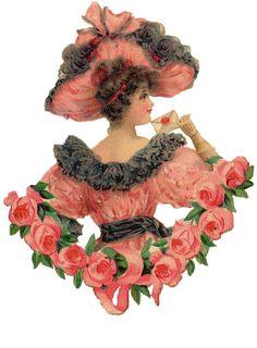 Victorian Die Cut of Valentine Lady