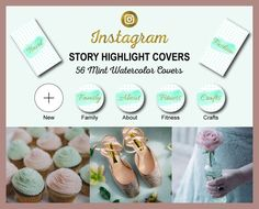 Instagram Story Highlight Icon Covers | Mint Watercolor + Gold Foil Text | Ready to Use | Bloggers,