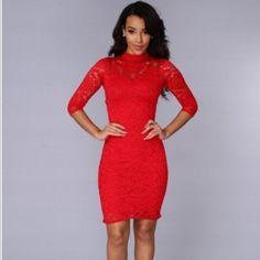 Red Lace Dress Brand New never worn Fashion Nova Dresses Midi