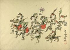Frogs bearing persimmons and riding lizards. Kawanabe Kyosai.