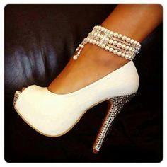 Elegant White Peep Toe Pearl Ankle Strap High Heel Shoes $75.99