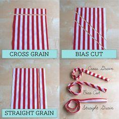 all about bindings...cross grain, bias cut, straight grain