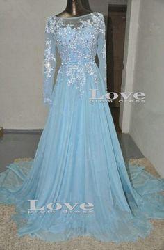 Custom Made Light Blue longsleeved Sequined by LovePromDress
