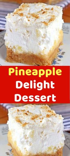 Pineapple Delight Dessert This Pineapple Delight dessert is super easy and great for feeding a crowd. You will find this traditional cold treat to be simply delightful. Are you looking for the perfect dessert for Types Of Desserts, No Bake Desserts, Easy Desserts, Delicious Desserts, Dessert Recipes, Yummy Food, Pudding Desserts, Dessert Ideas, Yummy Treats