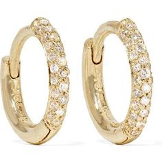 Jennifer Meyer Huggie Gold Diamond Hoop Earrings as seen on Dakota Johnson